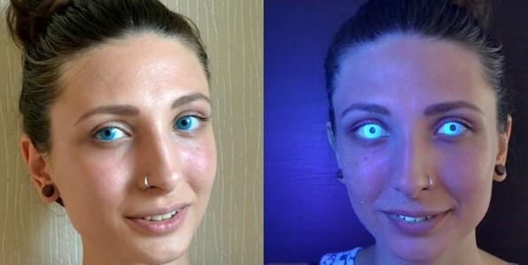 Светящаяся линза при ультрафиолете
