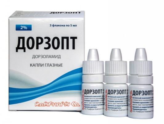 Глазные капли Дорзопт выпускаются во флаконах по 5 мл. В одной упаковке может быть от 1 до трех флаконов.